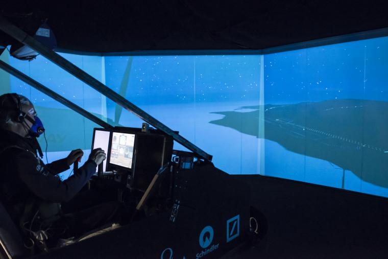 Flying around the world in a flight simulation for 72 hours straight, Bertrand Piccard remains focused on the task at hand.  Courtesy Photo