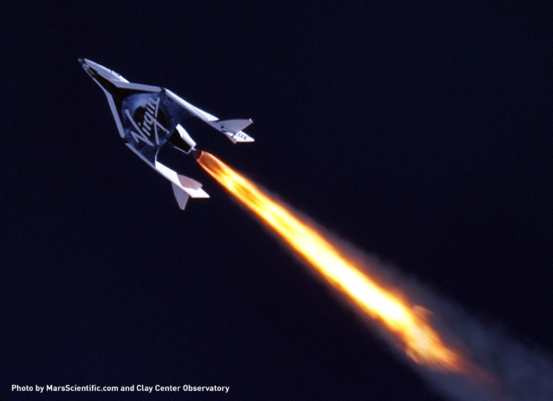SS2 flies supersonic for the first time. Photo by MarsScientific.com and Clay Center Observatory