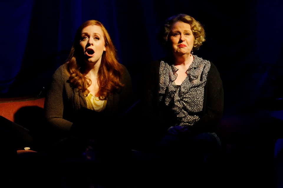 Laura Lites and Sally Mayes in the world premiere of Blue Roses at Lyric Stage. Photo Courtesy of Lyric Stage.