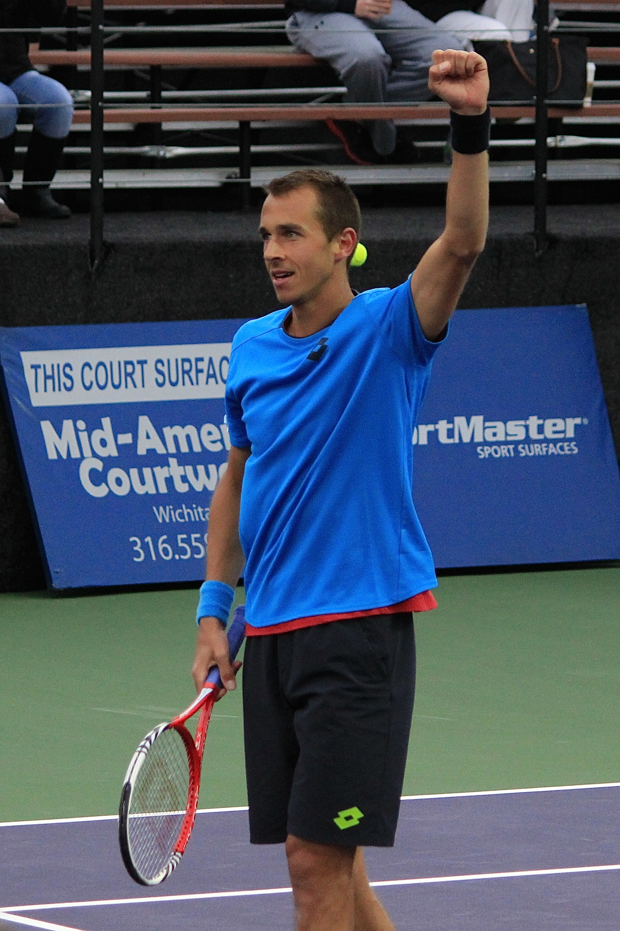 Lukas Rosol (CZE) pumps his fist after winning the 2014 Irving Tennis Classic Singles Championship on Sunday, March 16, at the Four Seasons Club and Resort. Rosol defeated Steve Johnson (USA) in straight sets.