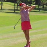 Lexi Thompson hits her second shot on the 18th hole in the 3rd round of the North Texas Shootout on Saturday, May 3, 2014, at Las Colinas Country Club. Thompson finished the day with a 67 (-4) and sits four shots back of the lead heading into Sunday's final round.