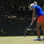 Sarah Kemp hits her putt on the 17th green during the 3rd round of the  North Texas LPGA Shootout on Saturday, May 3 at Las Colinas Country Club. Kemp shot a 69 (-2) on Saturday, and enters Sunday's final round four shots back of the tournament lead.
