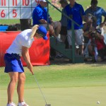 Suzann Pettersen attempts a putt on the 18th green during the final round of the North Texas LPGA Shootout on Sunday, May 5, at Las Colinas Country Club. Pettersen finished the tournament at -7, tied for 6th place.
