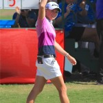 Stacy Lewis waves to the crowd after winning the 2014 North Texas LPGA Shootout on Sunday, May 5, at Las Colinas Country Club.