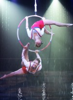 Twins Megan and Morgan McKenyon perform in Cirque Italia